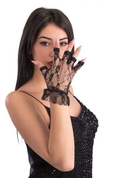 Black lace gloves without fingers 24 cm