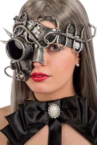 Ansiktsmask - Steampunk silver eye mirror mask