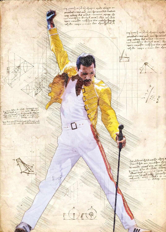 A3 Print - Music - Queen - Freddy Mercury