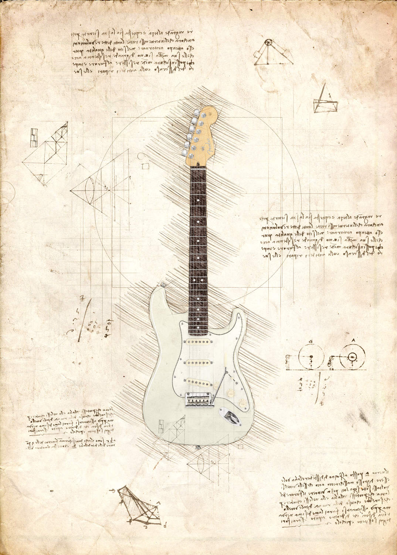 A3 Print - Music - Jimi Hendrix Fender