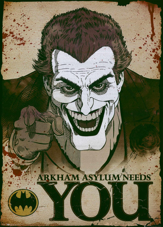 A3 Print - The Joker - Arham Asylum Needs You