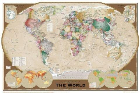 Poster Världskarta Trippel projection