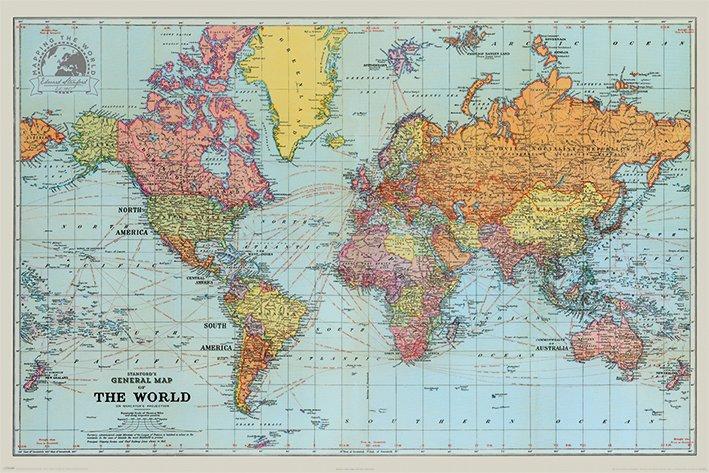 Stanfords General Map Of The World (Colour) - Världskarta