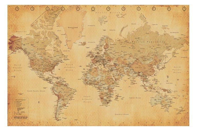Världskarta - Antik stil