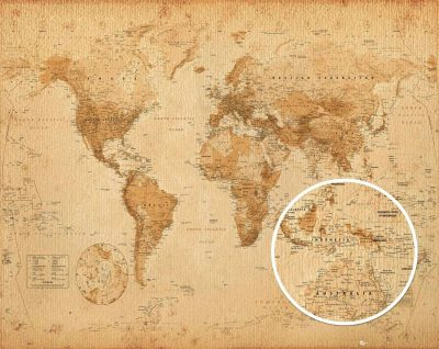 World map - Antique Style Antik Världskarta