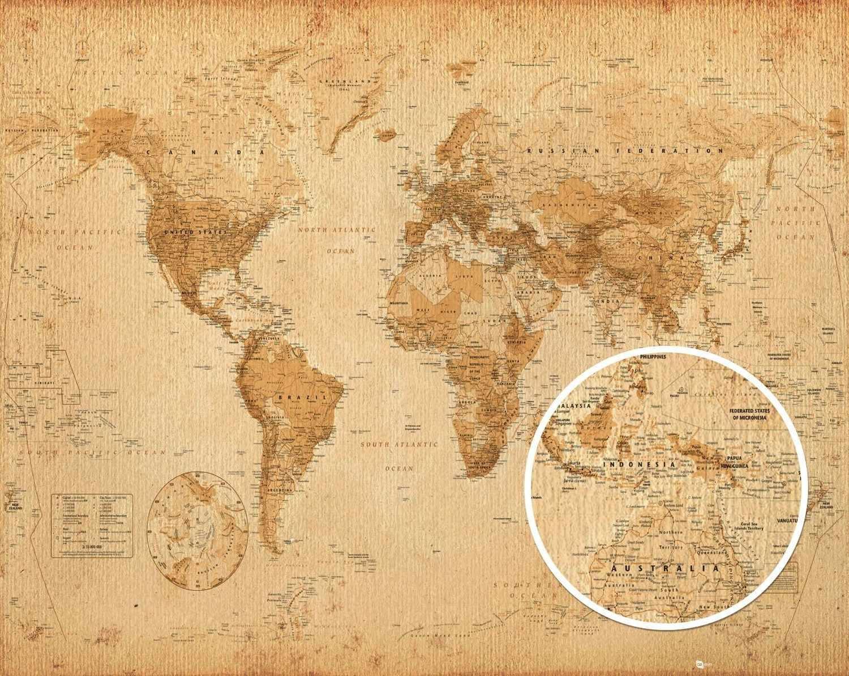World map - Antique Style Antik Världskarta