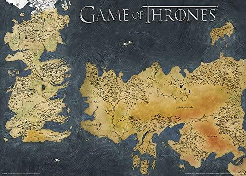 Game of Thrones-Westeros and Essos Antique Map (Metallic poster)