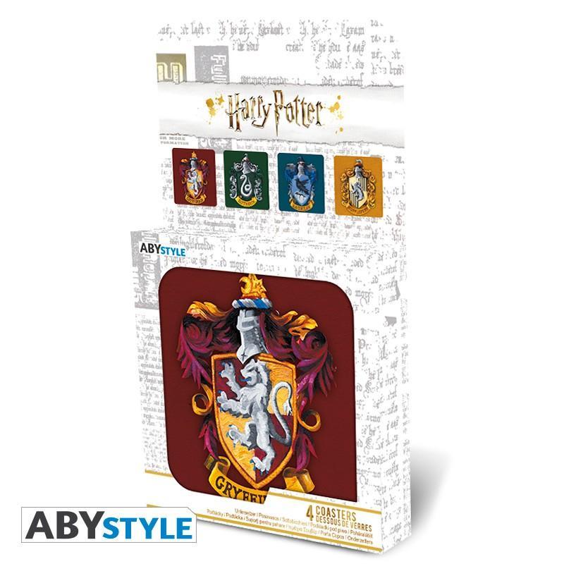 "Underlägg - HARRY POTTER - Set 4 Coasters ""Houses"""