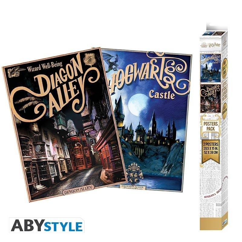 HARRY POTTER - Set 2 Chibi Posters - Retro Hogwarts&Diagon