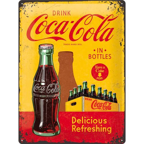 Metallskylt 30×40 cm Coca-Cola, In bottles