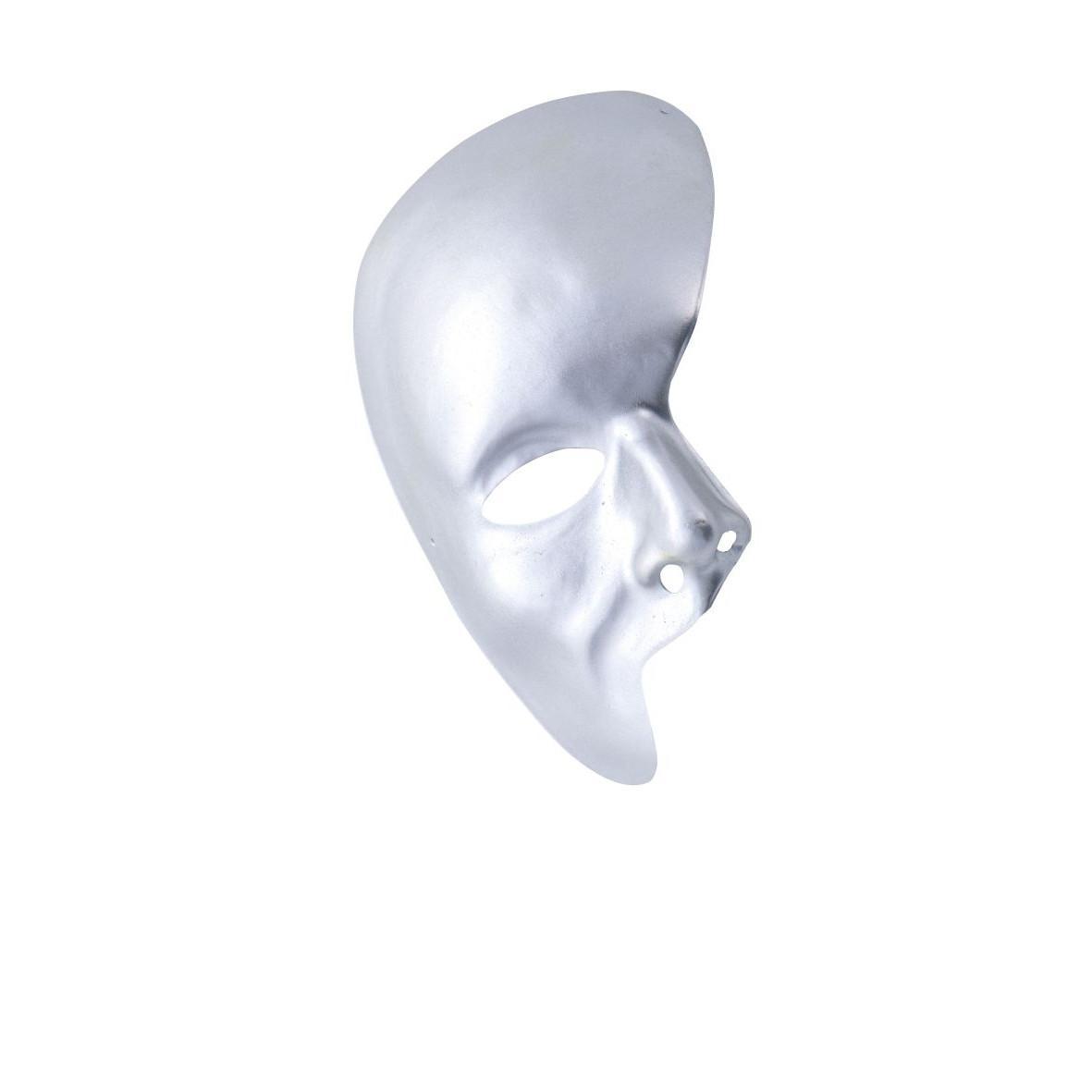 Ansiktsmask - Half face Silver Phantom of the opera mask