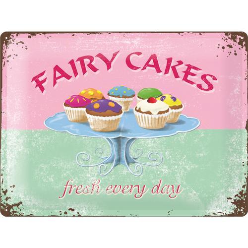 Metallskylt 30×40 cm Fairy cakes fresh every day