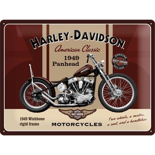 Metallskylt 30×40 cm Harley-Davidson, Panhead 1949