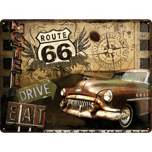 Metallskylt 30×40 cm Route 66, Us highway, Drive and eat