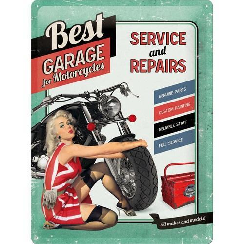 Metallskylt 30×40 cm Best Garage, Pin up, Service and Repairs