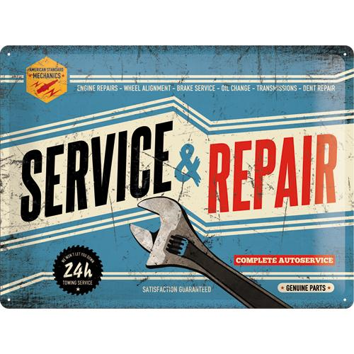 Metallskylt 30×40 cm Best garage, Service & repair