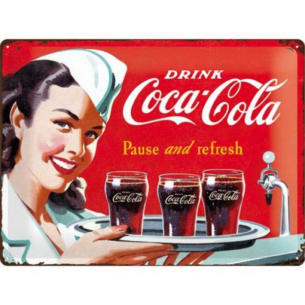 Metallskylt 30×40 cm Coca-Cola, Pause and refresh