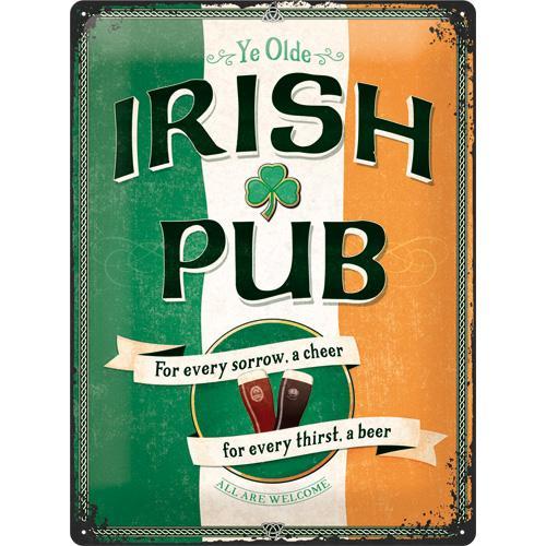 Metallskylt 30×40 cm Irish Pub