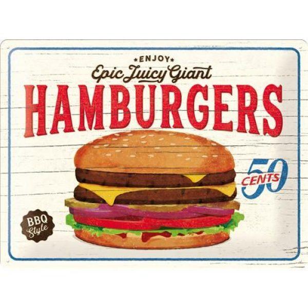 Metallskylt 30×40 cm Hamburgers 50 cents