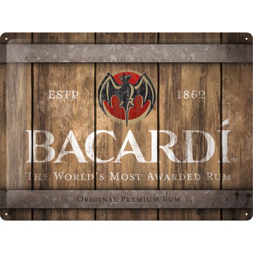 Metallskylt 30×40 cm Bacardi - Wood Barrel