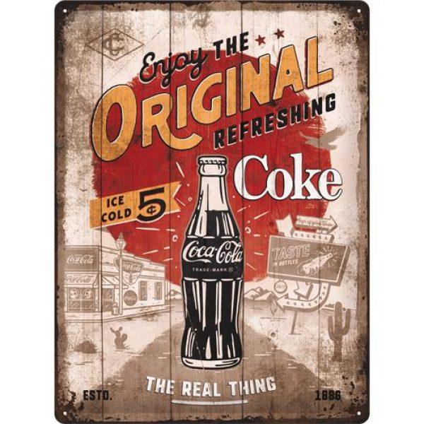 Metallskylt 30×40 cm Coca-Cola – Original Coke Highway 66