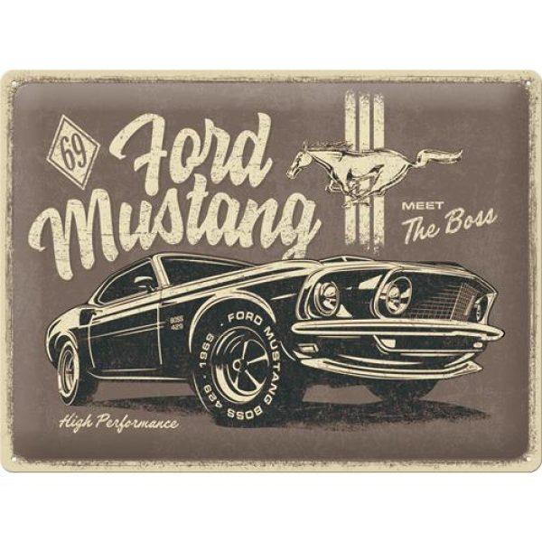 Metallskylt 30×40 cm Ford Mustang – The Boss